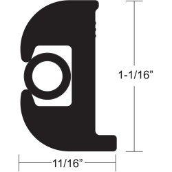 Taco Flex Vinyl Rub Rail Kit Black 1-1/16H X 11/16W X 50'L