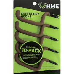 HME Bow and Gear Holder Screw In Hooks Coated 10 Pack